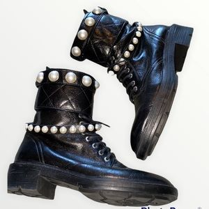 ⭐️Zara Leather Combat Boots with Pearl Detail⭐️